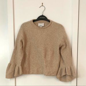 Phillip Lim Beige Cropped Sweater Ruffles small